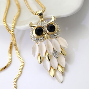 Charming bordered Alloy Opal Pendant Women choker Lady Girl Owl Pendant Necklace Long Sweater Necklace #281177