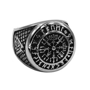 Free shipping Norse Viking Wolf Ring Stainless Steel Jewelry Odin's Symbol Rune Letter Signet Ring Celtic Knot Biker Rings Wholesale 795B