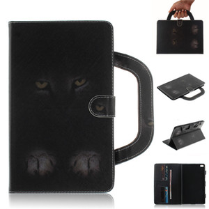 Tablet Case For Lenovo Tab 4 8 Plus Handle Flip Cover Stand Leather Wallet Coloured drawing Tiger Lion wolf Coque