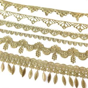 Продажа Ярд Золотая металлическая нить цветок высокого качества вышивка Кружевной Ткани Швейные костюмы DIY Кружевной Отделкой HB43-45