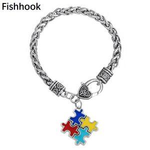Anzuelo Pulseras Brazaletes Zinc alloy Esmalte Autismo Awareness Puzzle Pieza Autistic charm bracelet Trendy link chain bracelet