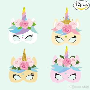 Çocuklar Için kağıt Unicorn Yüz Maskesi Doğum Günü Partisi Cosplay Kostüm Giydirme Unicornio Masquerade Maskeleri 12 adet 1 takım 10 adet ZZ