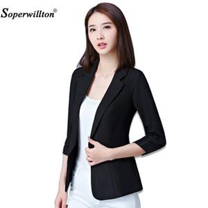 Soperwillton Blazer Feminino Plus Taille 5XL Veste Femme Automne Formelle Blanc Femme Bureau Dames Hauts Coréen 2018 Mode A991