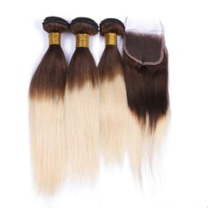 Браун и Blonde Ombre бразильского человек утки волос с Closure Straight # 4/613 Среднего Браун Светловолосой Ombre 4x4 Lace Closure с 3Bundles
