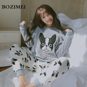 BOZIMEI 2018 Inicio de Invierno Pijama de Mujer Pijama Sets Coral Fleece Nighty Ropa de Dormir Lindo Patrón de Perro de Dibujos Animados Patrón de Pijamas Ropa de Dormir