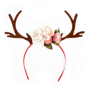 Cabelo Chifre Eco-FriendlyChristmas INS Deer Antler Headband Flowers Blossom DIY Fawn Hoop Fancy Dress Partido Cosplay Acessório