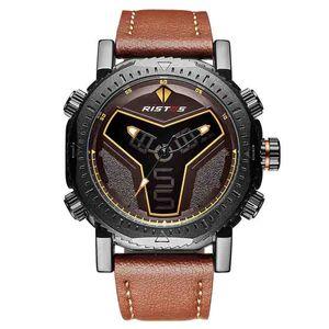 Ristos wengle New Multifunction Belt fashion movement waterproof Double display Calendar luminous imitation leather Quartz watch