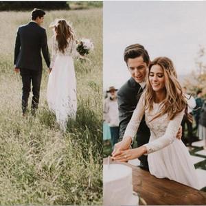 País boêmio vestidos de casamento 2018 novo barato sheer manga longa com apliques de renda vestidos de noiva a linha de vestido de novia custom ba6589