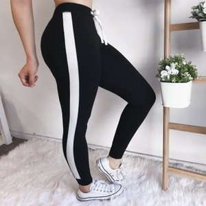 Newest High Waist Pants Trouser Women Drawstring Waist Skinny Pants Grey Ribbed Knit Striped Sideseam Sweatpants Fitness Legging Quality Hot