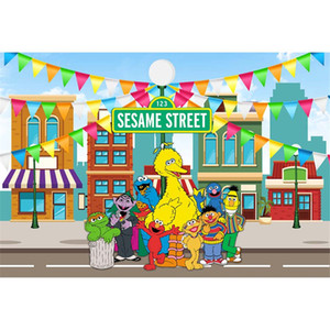 Sesame Street Birthday Party unter dem Motto Fotografie Kulisse Bunte Fahnen Elmo World Baby Kinder Kinder Photo Booth Hintergrund