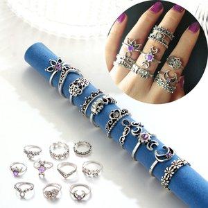 Retro Ringe Hohl Geschnitzte Blumen Joint Knuckle Ringe Sets Elefant Crown Palm Heart Hohl Knuckle Ringe Geschenk 10 teile / satz D568LR