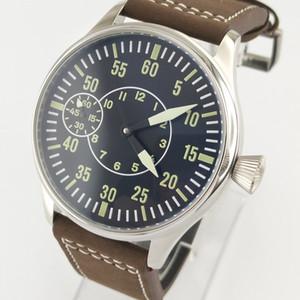 Bandes de cuir cadran noir vert lumineux de 44 mm en acier, boîtier en acier 6497 montre-bracelet mécanique à remontage manuel pour homme 2706