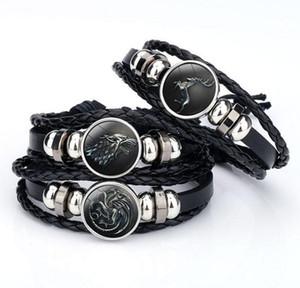 Juego de Tronos Pulsera Casa Stark Lannister Targaryen Chunks Button Snap Glass Cabochon Pulsera Wrap Time Gemstone Bracelets