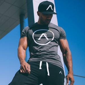 Мужчины лето стиль футболка спортзалы фитнес бодибилдинг рубашки Slim fit мода повседневная мужчины с коротким рукавом хлопок одежда Tee топы