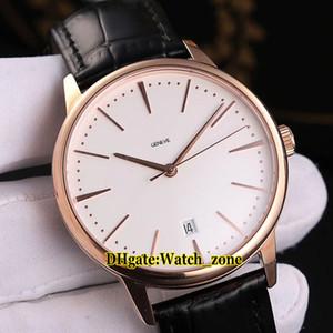 Nuovo Patrimonio 85180 / 000R-9248 Giappone Miyota 8215 quadrante bianco automatico orologio da uomo cinturino in pelle cassa in oro rosa orologi da polso