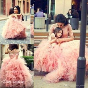 New Arrival Puffy Big Flower Girls' Dress Ball Gown Long Dance Princess Formal Wear Weddings Party Little Girls Pageant Dress