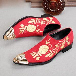 Размер Spiked Plus Red Loafers Италия Обувь Платье Обувь Мужчины Золотая Вышивка Handmade Choudory Свадебный Носок Черная Кожа Xwavw