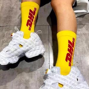 Dhl Çorap Pamuk Sarı Mektuplar Hip Hop Spor Çorap Erkekler Ve Kadınlar Çift Çorap Hip Hop Mektup Pamuk Rahat HFBYWZ011