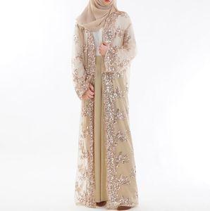 Mode femmes dentelle broderie paillettes perspective Abaya femmes musulmanes Long Cardigan en mousseline de soie Blouse Turc Vêtements islamiques a870