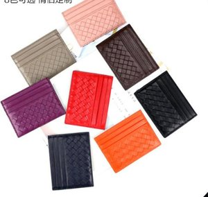 hand-woven New Mens women Classic Design Casual Credit Card ID Holder Hiqh Quality Real Leather Ultra Slim Wallet Packet Bag For Mans Womans
