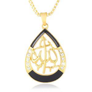 Trendy Islam religioso muçulmano cadeia colar de pingente / pescoço para Crystal ouro / mulheres Cor Prata / menina do Oriente Médio presente da jóia Bijoux