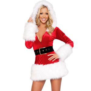 À manches longues à capuche en peluche étape de Noël costume rouge mignonne robe de Noël Costumes Mlle Costume Santa Claus Costume Sweet Santa Uniforme