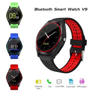 안 드 로이드에 대 한 카메라 알람 시계 보수계 스포츠 Smartwatch와 V9 블루투스 스마트 시계 남자 여자 IOS 손목 시계 DZ09 GT08 Y1 A1