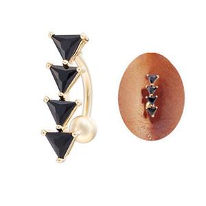 Moda inversa arco sexy triangolo nero anello dell'ombelico bar pancia anello ciondola il piercing per il regalo delle donne