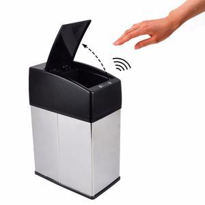 3L / 6L Mini basura de acero inoxidable sin contacto, cubo de basura automático del coche, pequeño sensor de cocina, bote de basura Mesa de basura
