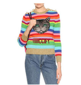 2018 Automne Rainbow Rayé Manches Longues Femmes Pulls Designer Épaule Perles Paillettes Broderie Lettre Imprimer Pulls Femmes 91808