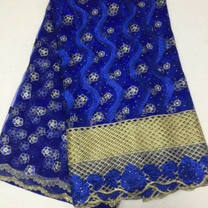 5 Yards pc Nice looking royal blue beads and stones french net lace flower embroidery african mesh lace fabric for dress BN81-5