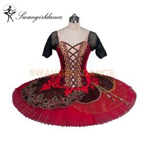 Femmes Don Quichotte Variation YAGP Compétition Ballet Tutu Adulte Noir Rouge Professionnel Classique Plateau Tutu BT9080