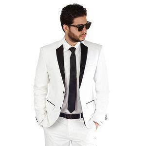 Custom White Men Suits Slim Fit Wedding Groom Tuxedos 2 Pieces (Jacket+Pants) Bridegroom Groomsmen Suits Best Man Blazer Prom Wear