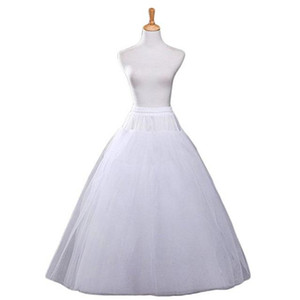 اكسسوارات الزفاف الأبيض ألف خط الزفاف الكرة ثوب 4 طبقات تول hoopless التنورة الداخلية قماش قطني تنورة حار بيع