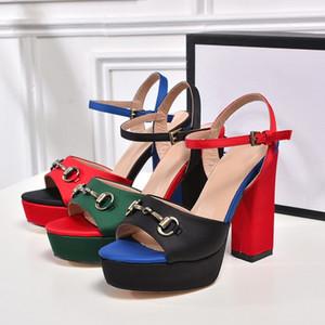 Saten Bez Kadın Peep Toe Seksi Sandalet kadın platformu Tıknaz Yüksek Topuklu Tasarımcı Yaz Ayakkabı 2018 yeni Maç Renk Horsebit Zincir ayakkabı