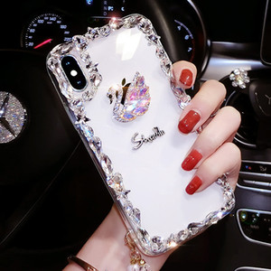 Luxury Swan Creative Diamond Bling Rhinestone Transparent Clear Soft TPU Silicone Rubber Case Cover For iPhone XS Max XR X 8 7 6 6S Plus 5