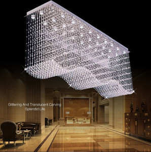 Modern Lage LED Crystal Chandelier Lighting Raindrop Square Wave Crystal Ceiling Chandeliers for dining room Lobby kitchen island