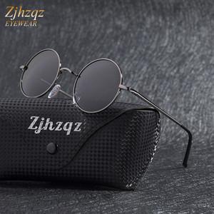 Nuovo Steampunk Occhiali da sole rotondi Classic Anti-UV polarizzato struttura in metallo Piccolo Retro John Lennon Grigio Nero Occhiali Telaio