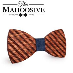 Mahoosive grabado pajaritas de madera para hombre trajes de boda pajarita de madera forma de mariposa bowknots gravatas delgado corbata