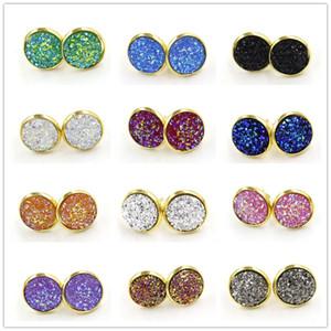 Mode 12 couleurs Ronde 12mm Résine Druzy Drusy Boucles d'oreilles couleur or Stud à la main pour les femmes bijoux