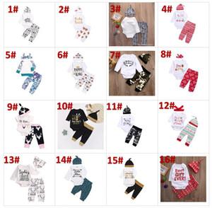 21 estilos NOVO Bebê Das Meninas Do Bebê de natal oco Outfit Crianças Menino Meninas 3 Peças set T shirt + Pant + Hat Bebê crianças Conjuntos de Roupas BY0142