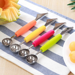 Wholesale 1 PCS Creative Double-ended Ice Cream Fruit Dig Ball Spoon DIY Fruit Plate Watermelon Carving Knife Kitchen Gadgets