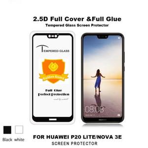 Pour Huawei P20 Lite Verre Trempé Full Colle Full Cover Pour Huawei Mate 10 Honor 9 Lite 8 7X Mate 9 P10 Nove 3E 2.5D Soie D'impression Verre