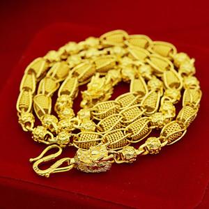 Ağır Ağır! Taşıma boncuk 48g 24ct ejderha Gerçek Sarı Katı Altın Dolu erkek Kolye Boş Zincir 5mm Takı
