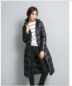 긴 여성 겨울 다운 재킷 여성 파카 초경량 90 % 오리 다운 코트 여성 겉옷