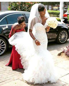 2018 New African Mermaid Abiti da sposa a file gonne di pizzo sweetheart sweep treno da sposa da sposa abito da sposa BC0273