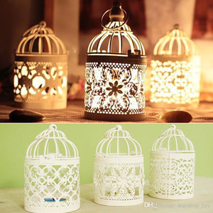 New Hollow Metal Candlestick Tealight Candle Holder For LED Electronic Lantern Holder Wedding Home Office Table Bird Cage Decoration TY7-277
