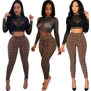 2018 Herbst Frauen Sexy Sheer Plaid 2pc Pantsuit Stretchy High Neck Langarm Crop Top Hohe Taille Lange Dünne Hose Party Zweiteilige Outfits