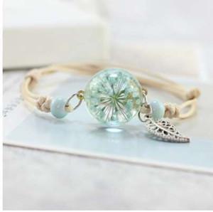 Nouveau Boho Vintage Charme Bracelet À La Main Réel Sec Fleur De Verre Boule Weave Réglable Bracelets Bracelet pour les Femmes Mode