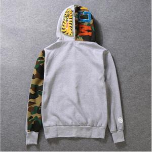 Escudo sudaderas con capucha para hombre StreeWear masculino del basculador Sportwear Pullover Fleece con capucha puente Hip Hop con capucha Negro Hombres Ropa S-2XL